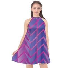 Geometric Background Abstract Halter Neckline Chiffon Dress