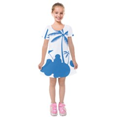 Fresh Blue Coconut Tree Kids  Short Sleeve Velvet Dress