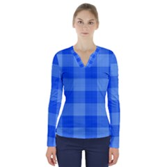 Fabric Grid Textile Deco V Neck Long Sleeve Top by Alisyart