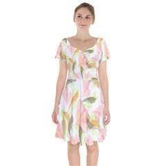 Flower Floral Short Sleeve Bardot Dress