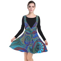 Fractal Abstract Line Wave Unique Plunge Pinafore Dress by Alisyart