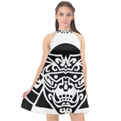 Hannya Japanese Halter Neckline Chiffon Dress