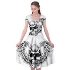 Human Skull Symbolism Cap Sleeve Wrap Front Dress