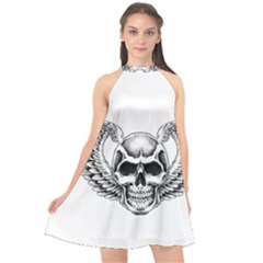 Human Skull Symbolism Halter Neckline Chiffon Dress