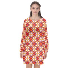 Hexagon Polygon Colorful Prismatic Long Sleeve Chiffon Shift Dress