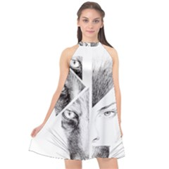 Wolf Girl Halter Neckline Chiffon Dress