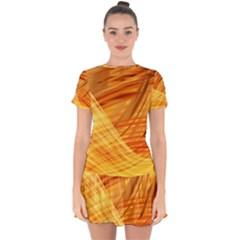 Wave Background Drop Hem Mini Chiffon Dress