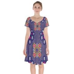 Morocco Tile Traditional Marrakech Short Sleeve Bardot Dress
