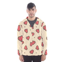Love Heart Seamless Valentine Hooded Windbreaker (men) by Alisyart