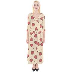 Love Heart Seamless Valentine Quarter Sleeve Wrap Maxi Dress
