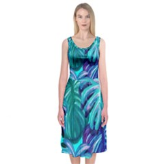 Leaves Tropical Palma Jungle Midi Sleeveless Dress