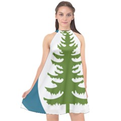 1  Forest Christmas Tree Spruce Halter Neckline Chiffon Dress
