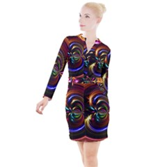 Abstract Line Wave Button Long Sleeve Dress