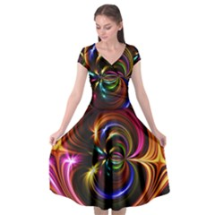 Abstract Line Wave Cap Sleeve Wrap Front Dress by AnjaniArt