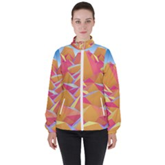 Background Mountains Low Poly High Neck Windbreaker (women) by AnjaniArt