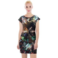 Abstract Texture Cap Sleeve Bodycon Dress by AnjaniArt
