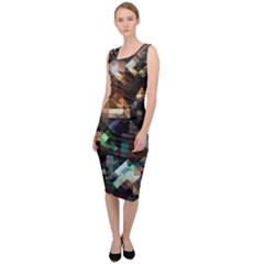 Abstract Texture Sleeveless Pencil Dress by AnjaniArt