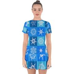 Background Blue Decoration Drop Hem Mini Chiffon Dress
