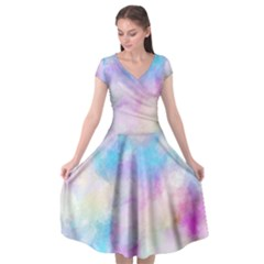 Abstract Watercolor Cap Sleeve Wrap Front Dress by AnjaniArt