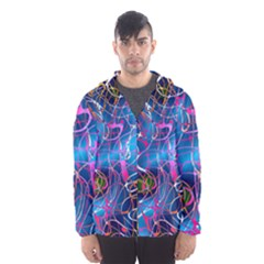 Background Chaos Mess Colorful Hooded Windbreaker (men) by AnjaniArt