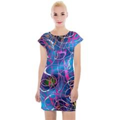 Background Chaos Mess Colorful Cap Sleeve Bodycon Dress