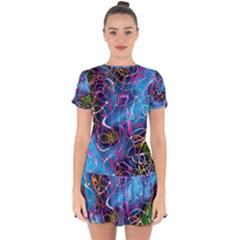 Background Chaos Mess Colorful Drop Hem Mini Chiffon Dress by AnjaniArt