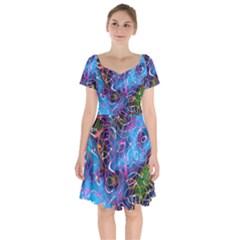 Background Chaos Mess Colorful Short Sleeve Bardot Dress