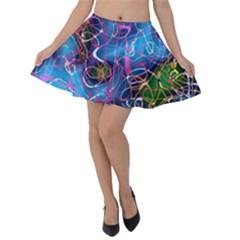 Background Chaos Mess Colorful Velvet Skater Skirt