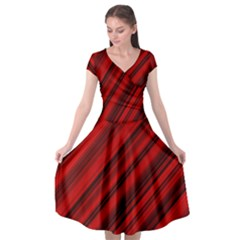 Background Red Lines Cap Sleeve Wrap Front Dress by AnjaniArt