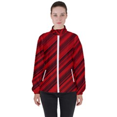 Background Red Lines High Neck Windbreaker (women) by AnjaniArt