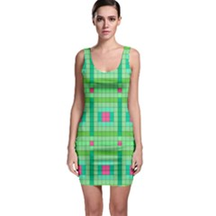 Checkerboard Squares Abstract Green Bodycon Dress by AnjaniArt