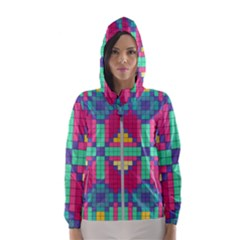 Checkerboard Squares Abstract Hooded Windbreaker (women) by AnjaniArt