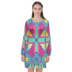 Checkerboard Squares Abstract Long Sleeve Chiffon Shift Dress