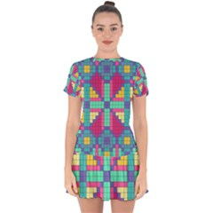 Checkerboard Squares Abstract Drop Hem Mini Chiffon Dress