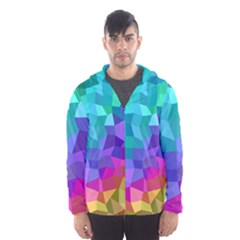 Colorful Multicolored Rainbow Hooded Windbreaker (men)