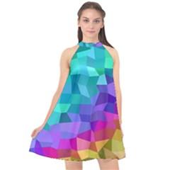 Colorful Multicolored Rainbow Halter Neckline Chiffon Dress