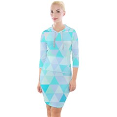 Blue Abstract Pattern Quarter Sleeve Hood Bodycon Dress