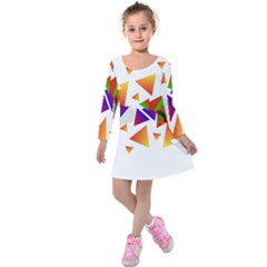 Abstract Triangle Kids  Long Sleeve Velvet Dress