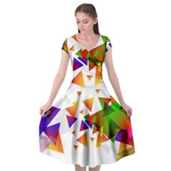 Abstract Triangle Cap Sleeve Wrap Front Dress by Jojostore