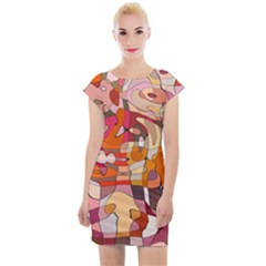 Abstract Line Cap Sleeve Bodycon Dress by Jojostore