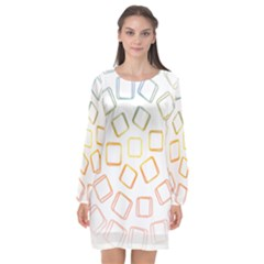 Abstract Geometric Squares Radial Long Sleeve Chiffon Shift Dress  by Jojostore