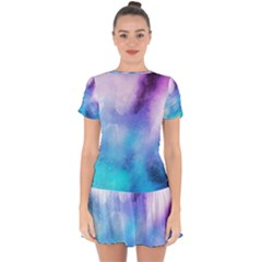 Background Abstract Watercolor Drop Hem Mini Chiffon Dress by Jojostore