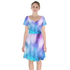 Background Abstract Watercolor Short Sleeve Bardot Dress
