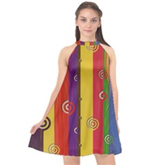 Abstract  Rainbow Halter Neckline Chiffon Dress  by Jojostore