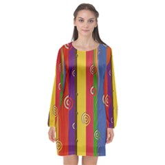 Abstract  Rainbow Long Sleeve Chiffon Shift Dress