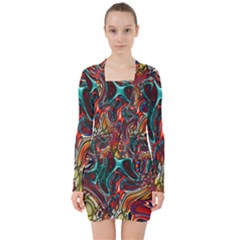Abstract Art Stained Glass V Neck Bodycon Long Sleeve Dress by Jojostore