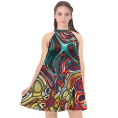Abstract Art Stained Glass Halter Neckline Chiffon Dress  by Jojostore