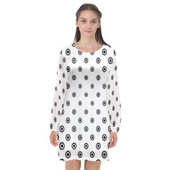 Circle Dot Pattern Dotted Long Sleeve Chiffon Shift Dress