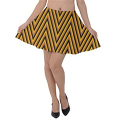 Chevron Brown Retro Vintage Velvet Skater Skirt