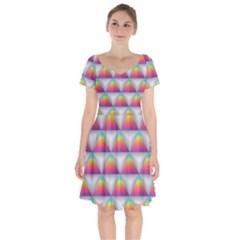 Colorful Triangle Short Sleeve Bardot Dress